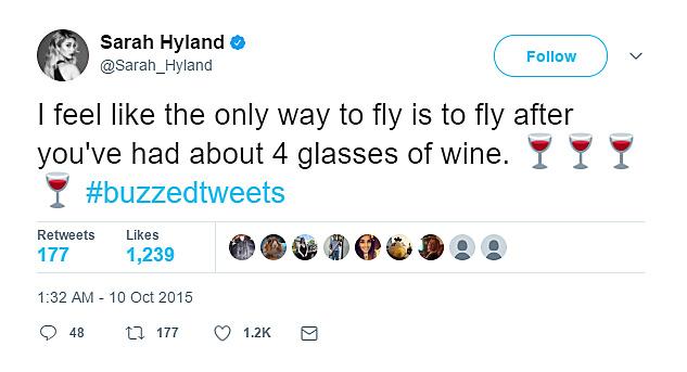 Sarah Hyland needs wine when she flies