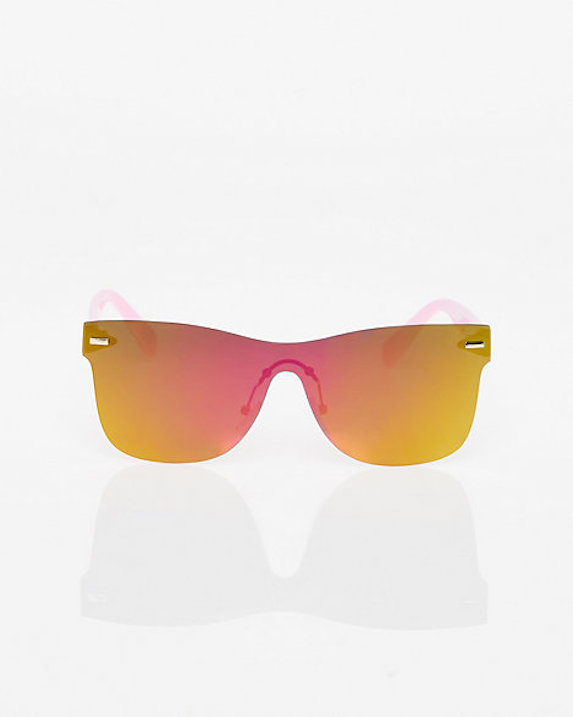 Frameless plastic sunglasses with an orange mirrored lens