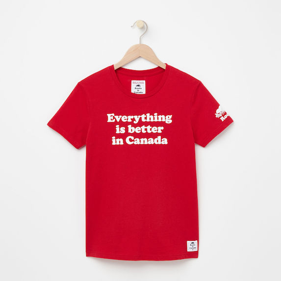 Red t-shirt with caption in white