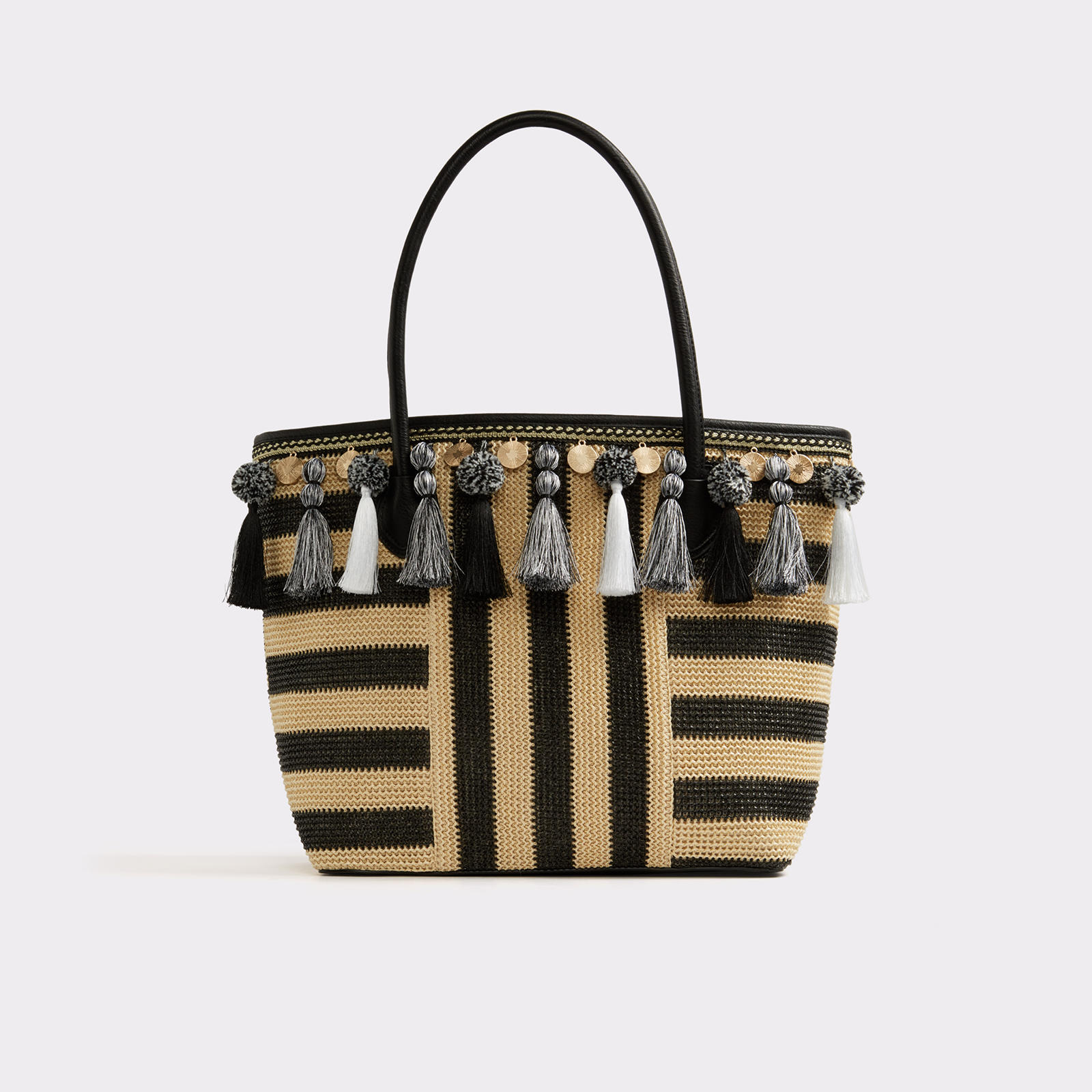 Straw tote bag with stripes and pom-pom details