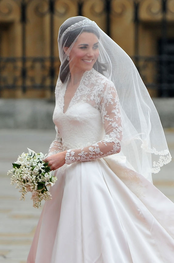 Kate Middleton in her Alexander McQueen lace-detail wedding dress in 2011