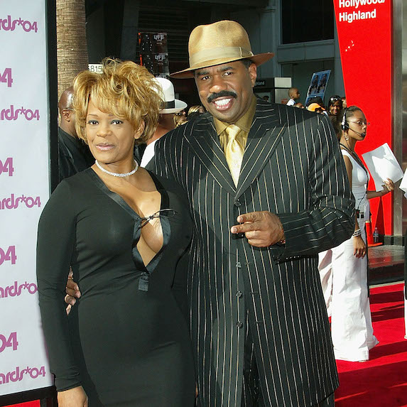 TV host/comedian Steve Harvey and former wife Mary Harvey attend the 2004 Black Entertainment Awards