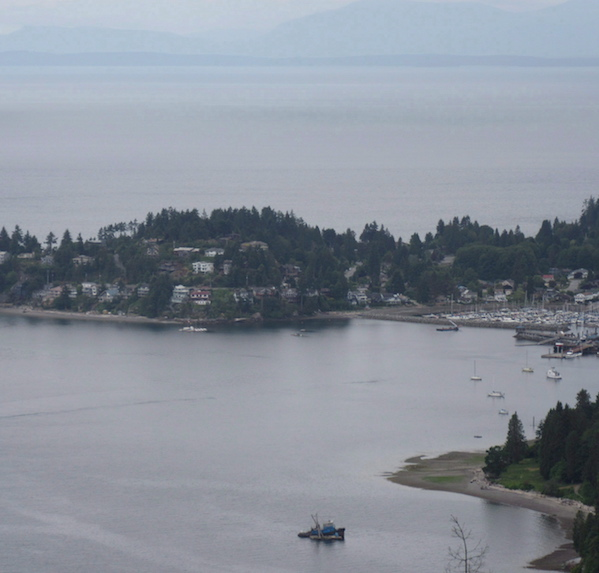 Aerial view of Gibsons, B.C., in the Sunshine Coast