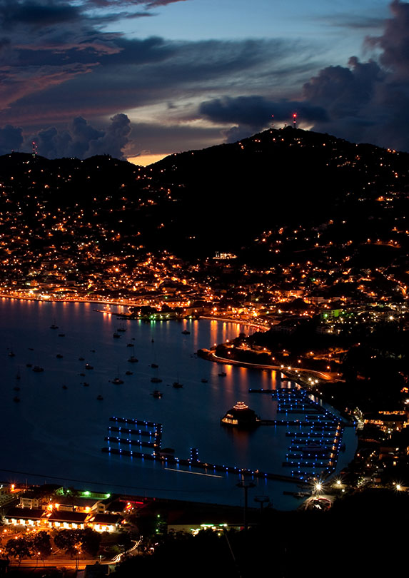 The port of Charlotte Amalie, St Thomas, US Virgin Island just after Sunset (aerial view)