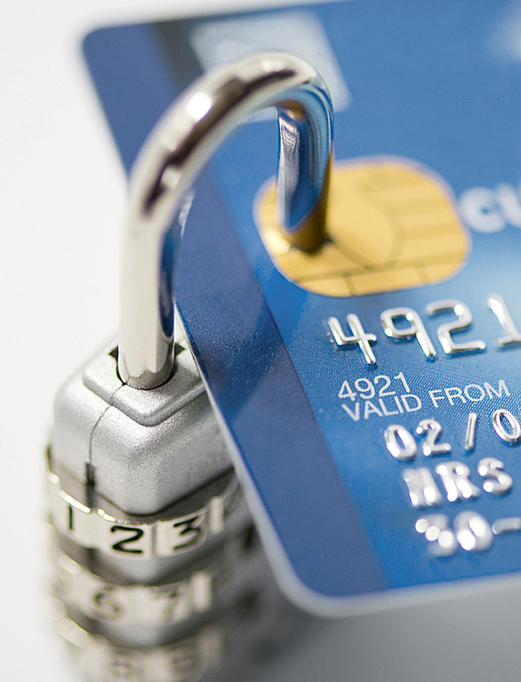 Padlock around bank card