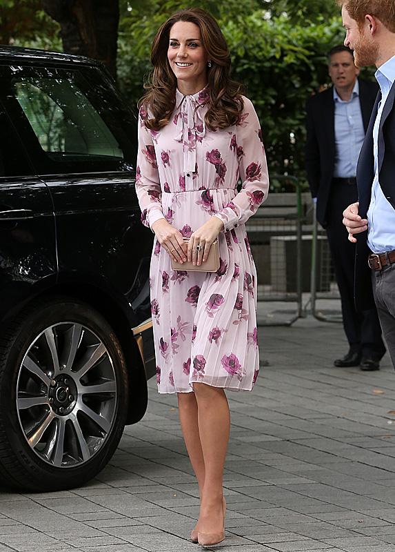 Kate Middleton wears a floral-print chiffon dress by designer Kate Spade