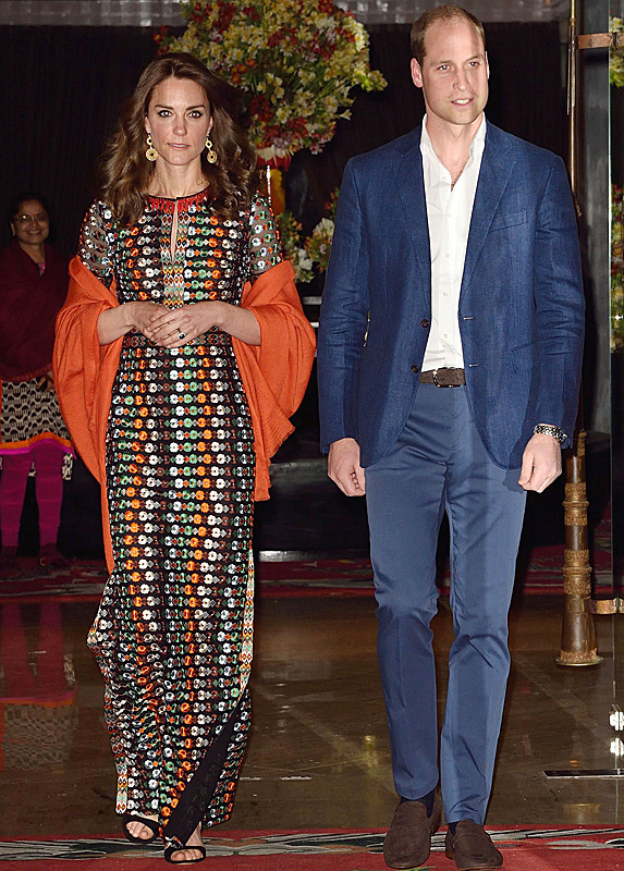 Kate Middleton and Prince William leave the Bhutan Hotel together, with Kate wearing a maxi gown by Tory Burch