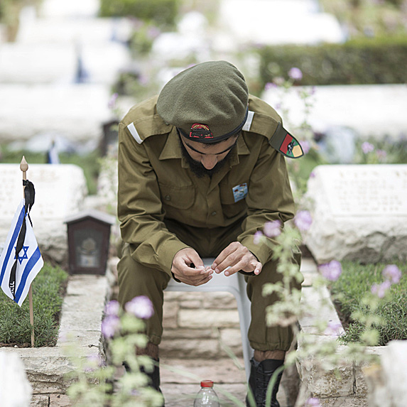 Soldier in Israeli cemetary