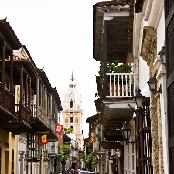 A view down a city street lined with buildings