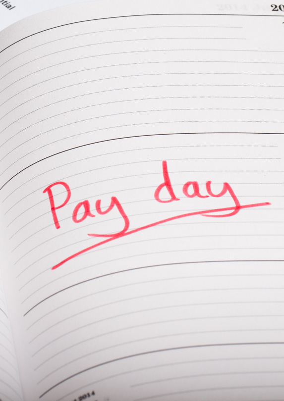 Payday written in a diary