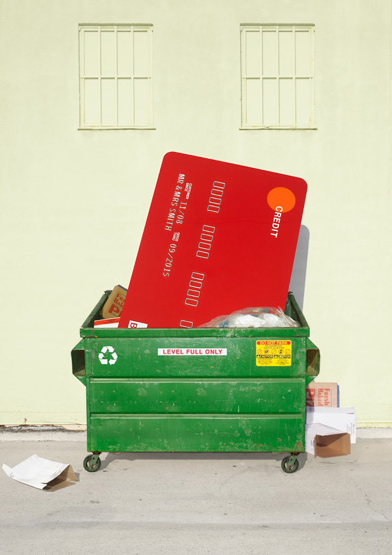 Credit card in dumpster