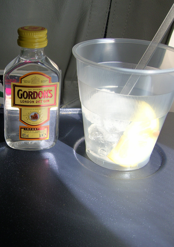 Alcoholic drink on a plane