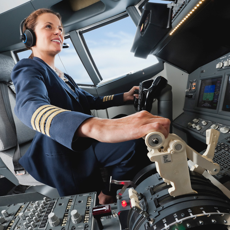 Pilot in the cockpit of a plane
