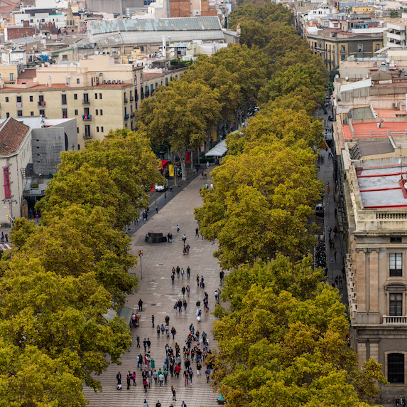 An aerial view of the lush tree-lined popular shopping district of La Rambla in Central Barcelona