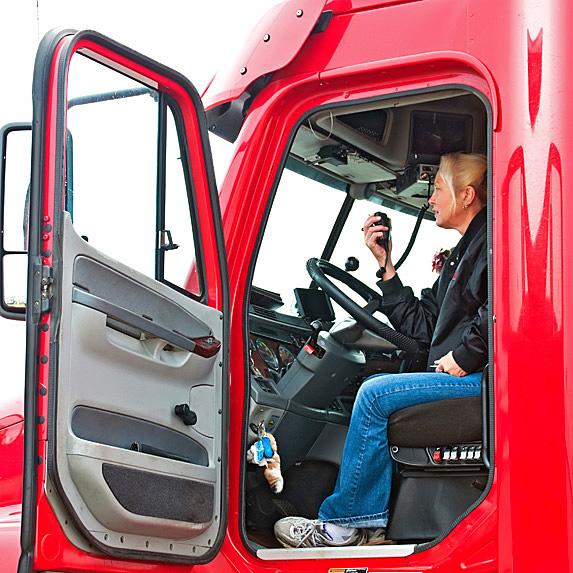 Woman on radio in truck