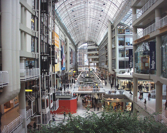 Inside the busy Eaton Centre mall in Toronto
