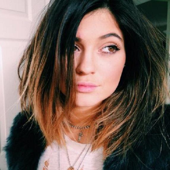 Kylie Jenner with a long ombré bob.
