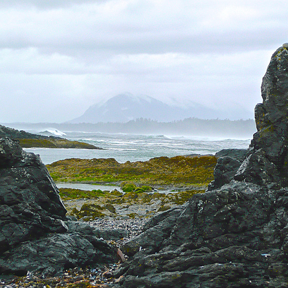 Shot of ocean and mountains in Tofino