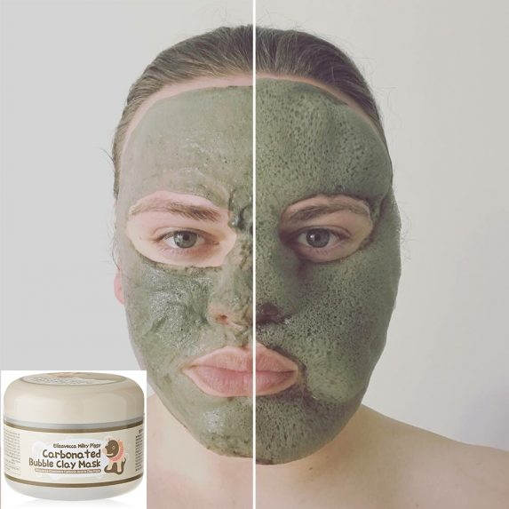 A man's face wearing a green face mask, on side is foaming while the other is not.