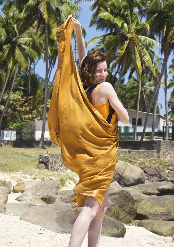 Female traveller covering up