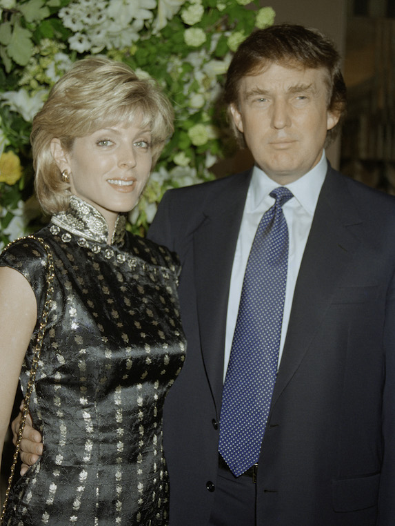 Donald Trump and then-wife Marla Maples, photographed together at an event in 1996