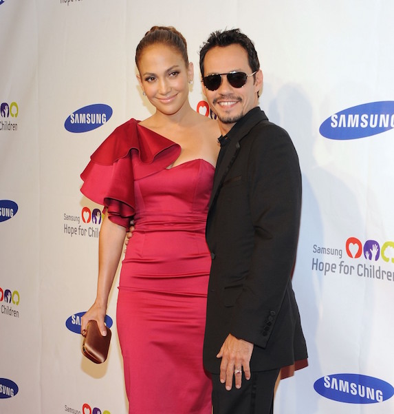 Jennifer Lopez and ex-husband Marc Anthony photographed together in happier times at a Samsung event