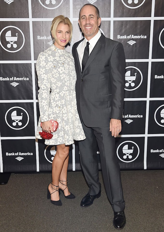 Comedian Jerry Seinfeld photographed with his wife Jessica Sklar at an event