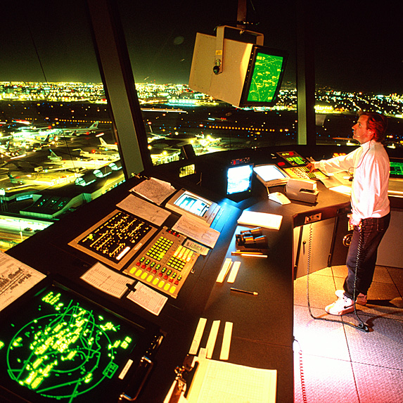 Air traffic controller at night
