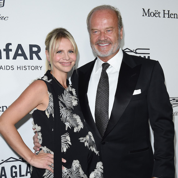 Kayte Walsh and husband Kelsey Grammar are photographed at an event