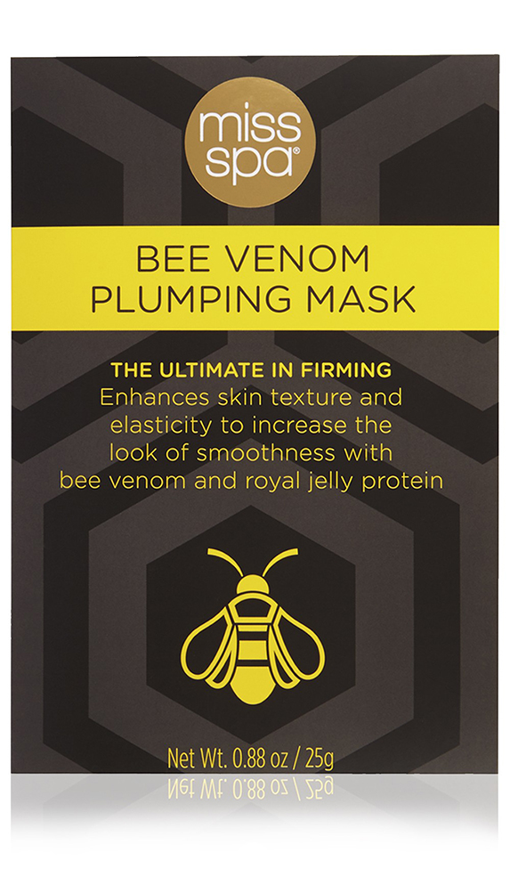 Black and yellow packaging with an image of a bee on it.