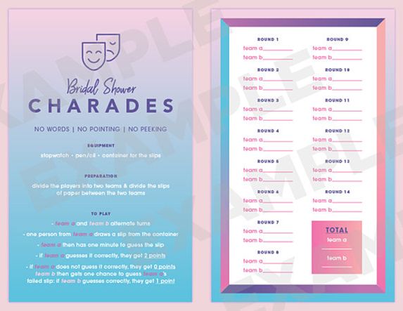 Bridal shower charades game printout