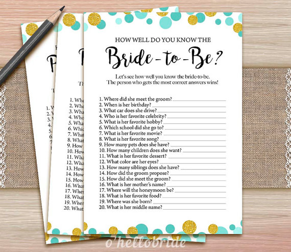 All about the bride quiz for a bridal shower