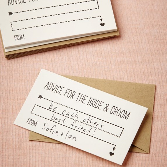 Words of wisdom for bride and groom bridal shower game