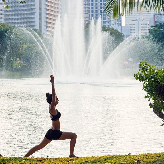 Person exercising in Bangkok, Thailand