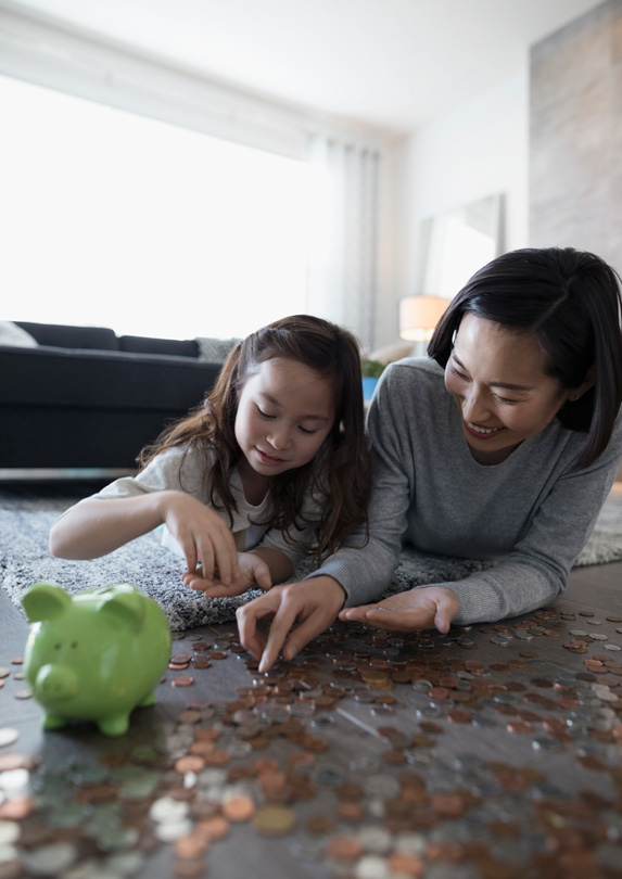 Mother and daughter with money