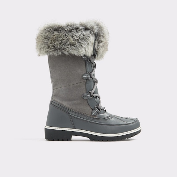 Tall grey winter boots with faux fur lining and trim