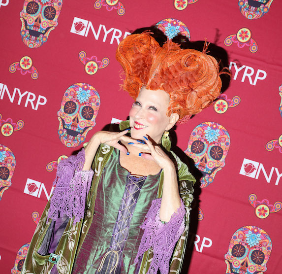 Bette Midler dressed as witch and film character Winifred Sanderson