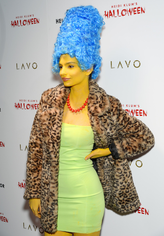 Model Emily Ratajkowski is photographed wearing a Marge Simpson costume