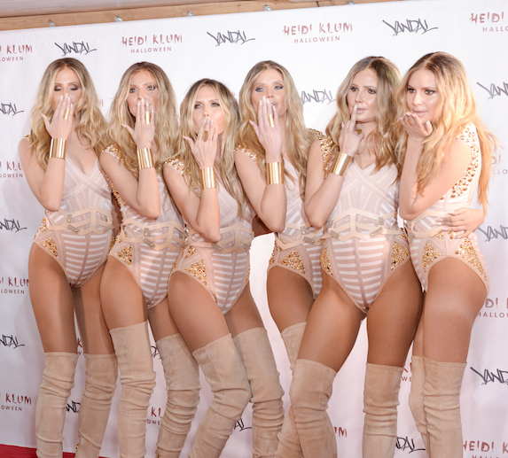 Heidi Klum and several women transformed to look exactly like her for Halloween