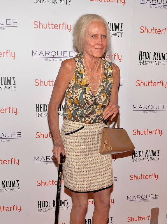 Heidi Klum is transformed into an elderly woman for Halloween