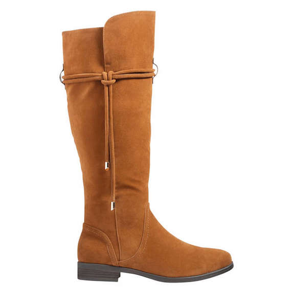 Tan knee-high winter boots with tie detail