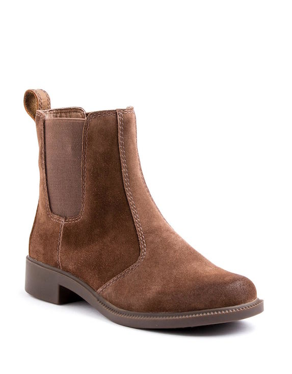 Brown leather Chelsea-style flat ankle boots
