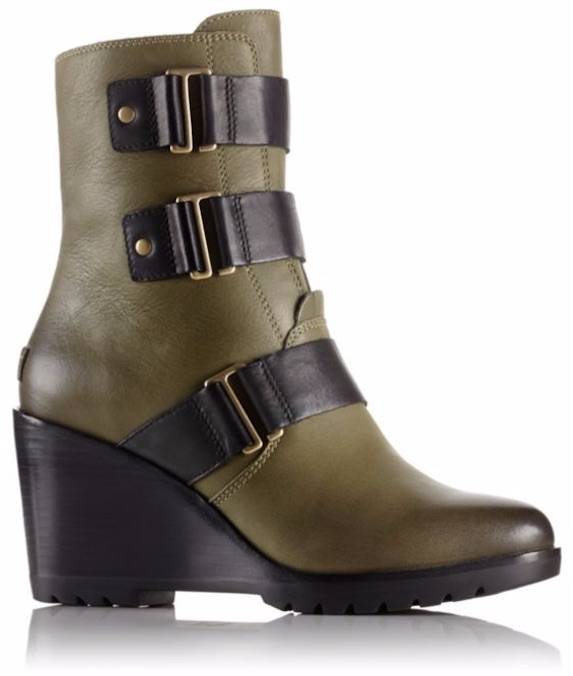 Green leather booties with a wedge heel and black buckle details