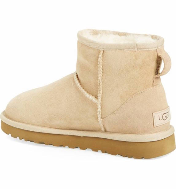 Short beige shearling lined winter boots