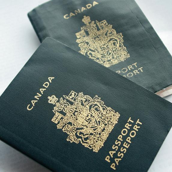 Canadian passport under black light