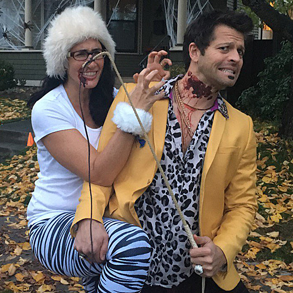 Victoria Vantoch and Misha Collins, dressed up for Halloween