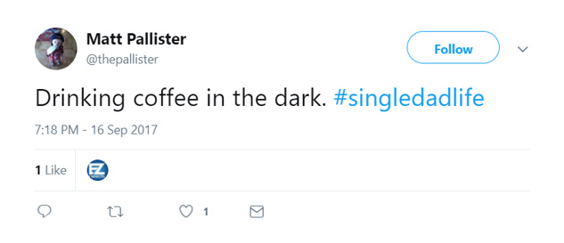 Enjoying coffee in the dark