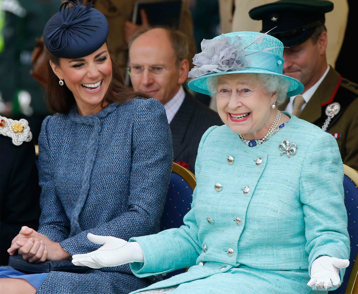 The Queen and Kate Middleton seated side by side