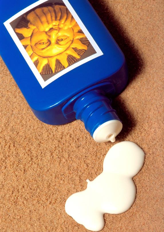 Bottle of sunscreen for packing list