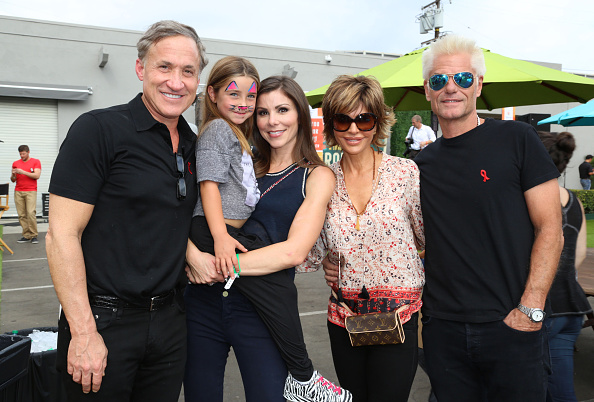 lisa rinna and heather dubrow pose with their families